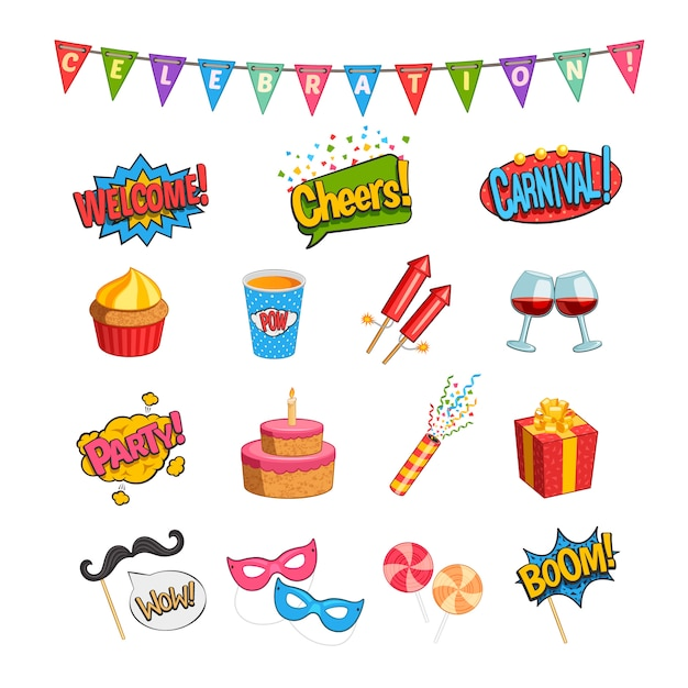 Party comic elements set with fireworks Free Vector