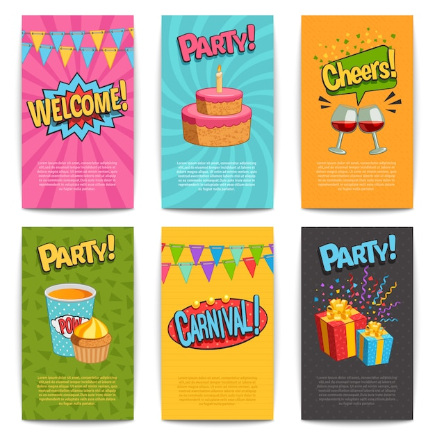 Party comic posters set with fun symbols flat isolated vector illustartion Free Vector