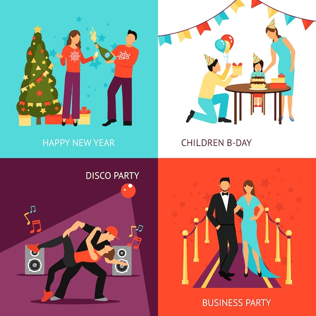 Party concept set Free Vector