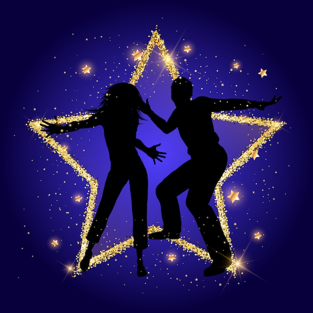 Party couple on a glittery gold star background Free Vector