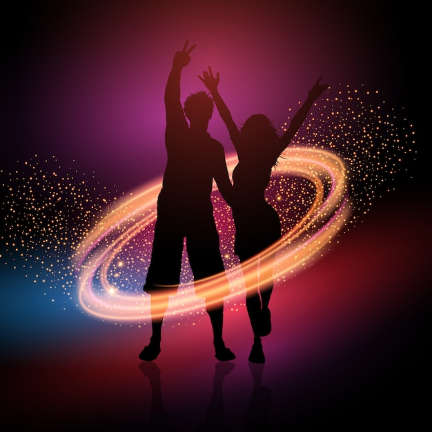 Party couple on a sparkle background Free Vector