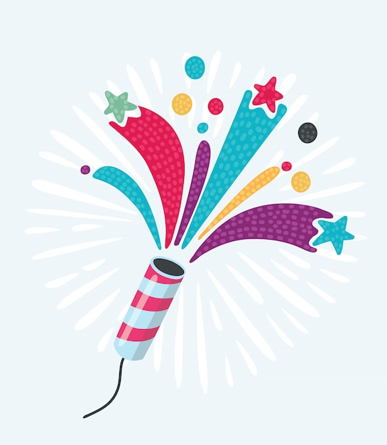 Party cracker with confetti and streamer on white background Premium Vector