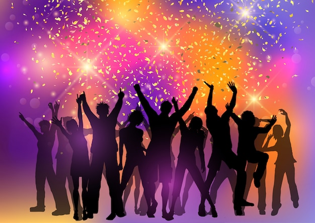 Party crowd on an abstract background with confetti Free Vector