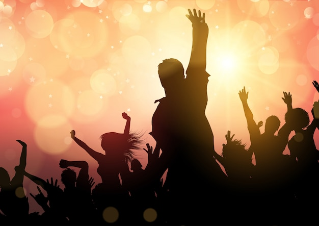 Party crowd on bokeh lights background Free Vector