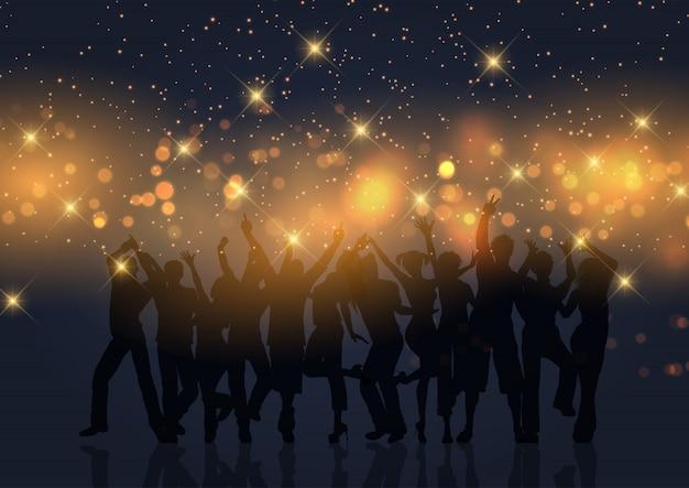 金ボケライトと星のパーティーの群衆 無料ベクター