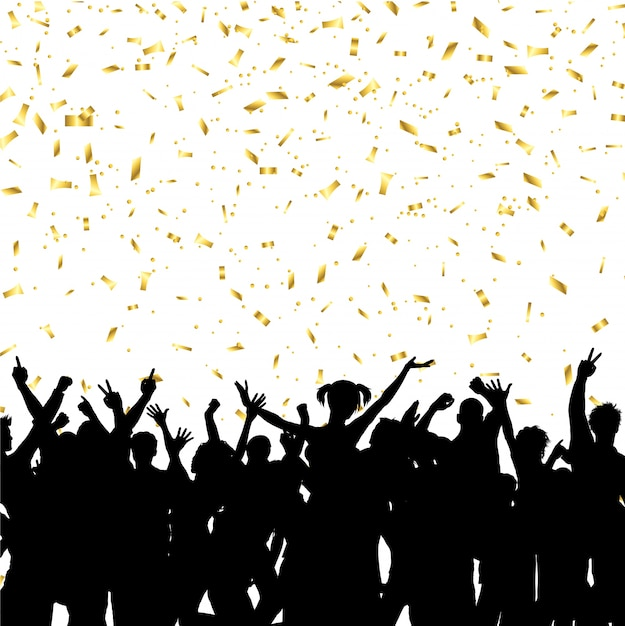 Party crowd on gold confetti background