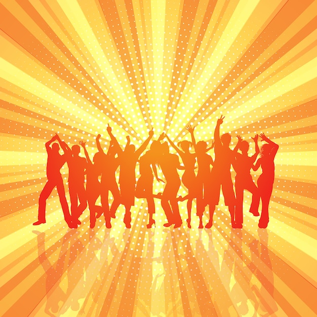 Party crowd on retro starburst\ background