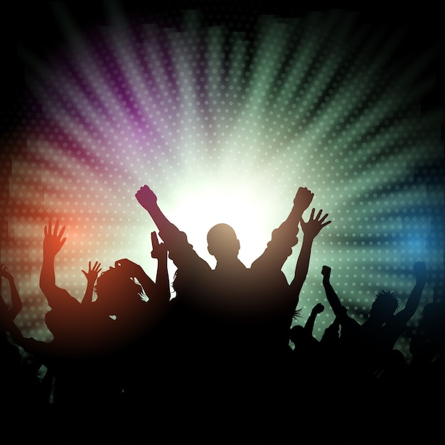 Party crowd on starburst background