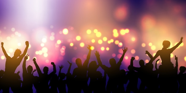 Party crowd silhouettes dancing on nightclub Free Vector