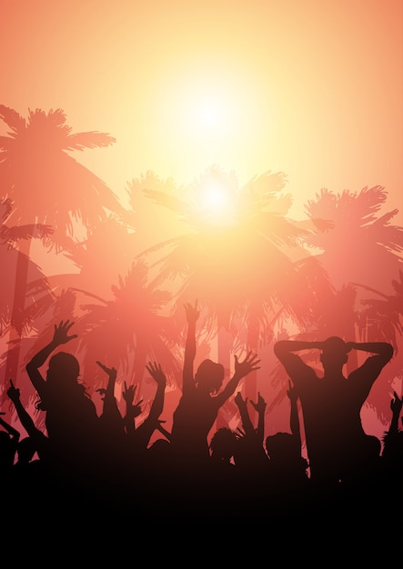 Party crowd on a summer background Free Vector