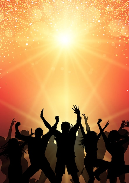 Party crowd on sunburst background Free Vector