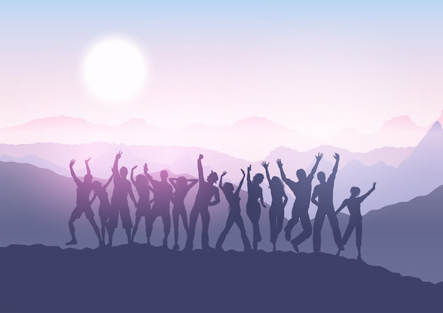 Party crowd in sunset landscape Free Vector