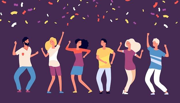 パーティーダンサー。幸せな若い人たちが踊り、企業の休日を祝う、落下の紙吹雪コンセプトでうれしそうな女の人の踊り Premiumベクター