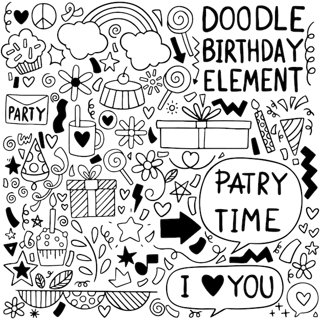 Premium Vector Party Doodle Happy Birthday Greeting Card With Drawing Elements