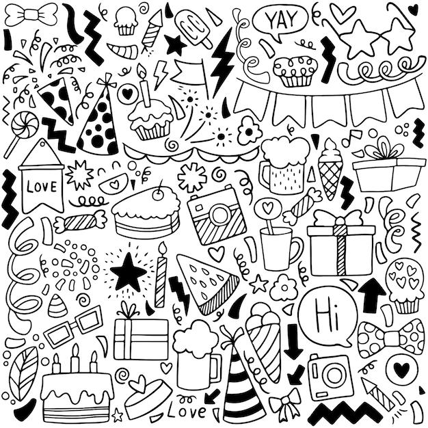 premium vector  party doodle happy birthday greeting card