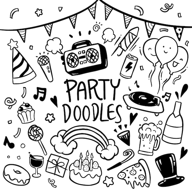 Party doodles hand drawn vector Premium Vector