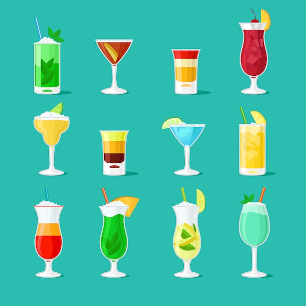 Party drinks glass vector set for bar or pub menu Premium Vector