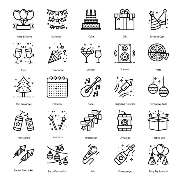 Party elements line icons pack Premium Vector