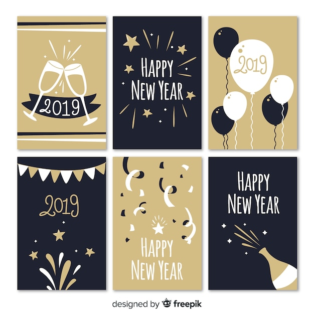 party elements new year cards collection free vector