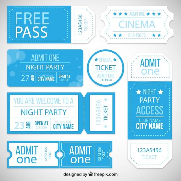 Party entrance ticket collection Premium Vector