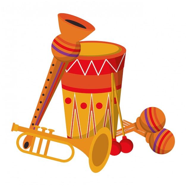 Party festive music instruments carnival cartoon Premium Vector