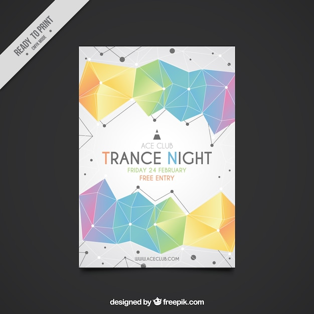Party Flyer Template With Colored Geometric Shapes Vector  Free