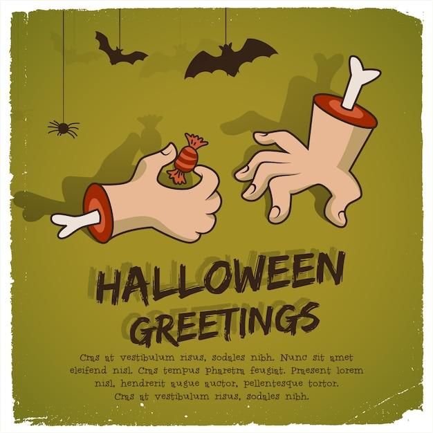 Modello di festa di halloween con caramelle di braccio di zombie di testo e pipistrelli in stile cartone animato Vettore gratuito