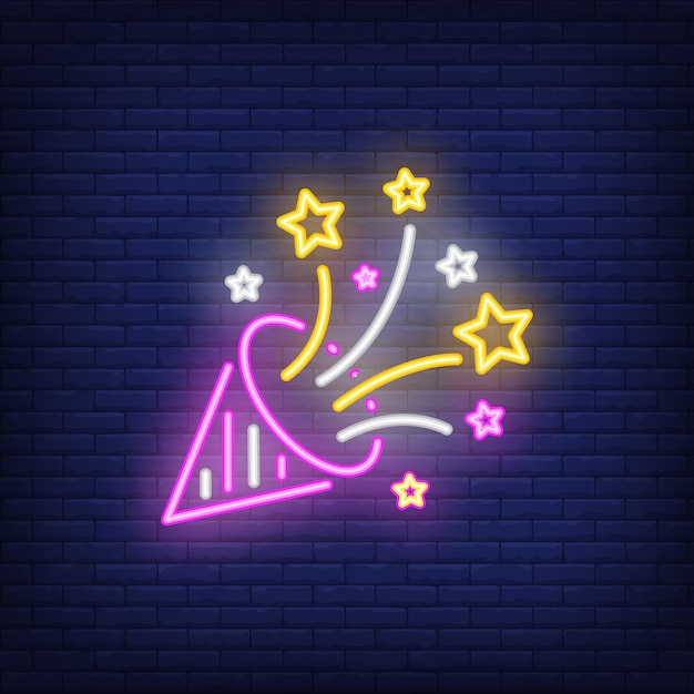 Party hat neon sign Free Vector