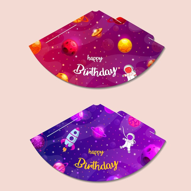 Premium Vector Party Hats Printable Space Party Print And Cut Happy Birthday Elements Set Of Cones Template To Head For Holiday