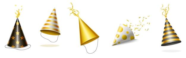 Праздничные шапки с золотыми и черными полосами, точками и звездами для празднования дня рождения. Бесплатные векторы