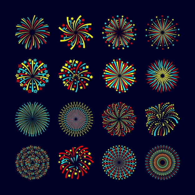 Party and holiday event firework icon flat set isolated vector illustration Free Vector