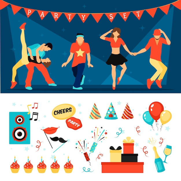 Party horizontal  vector images set Free Vector