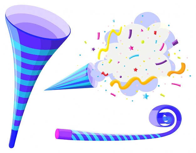 Party horn and pop up cone Free Vector