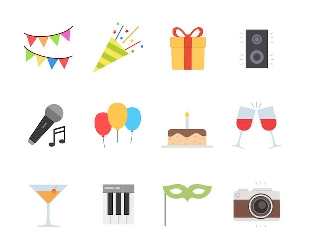 Набор иконок для вечеринки в плоском дизайне Premium векторы
