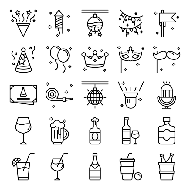 Party icons pack Premium Vector