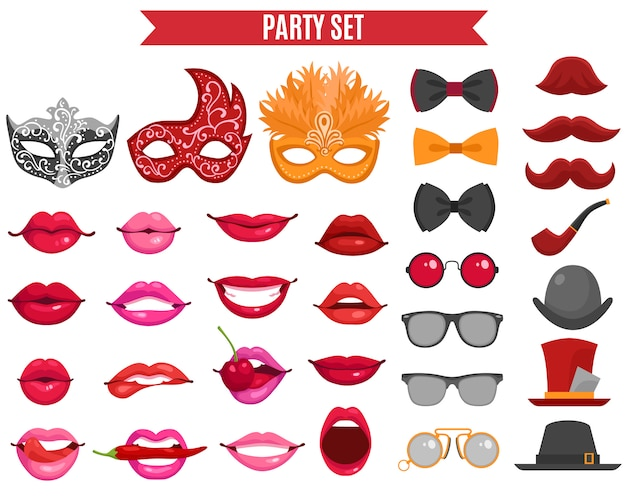 Party icons set in retro style Free Vector