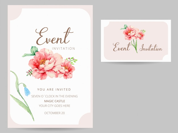 Party Invitation And Business Card Design Watercolor Style