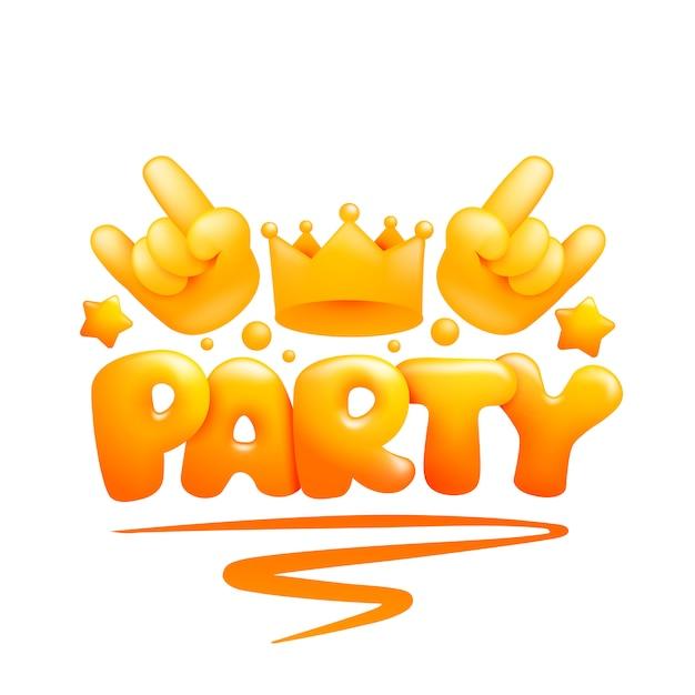 黄色の絵文字の手と王冠のパーティの招待状カードテンプレート Premiumベクター