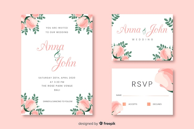 Party invitation cards with floral design Free Vector