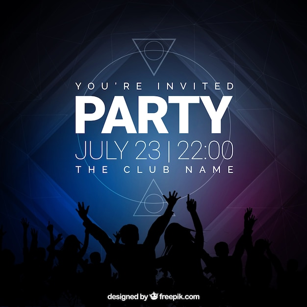 party invitation dark tones vector free download