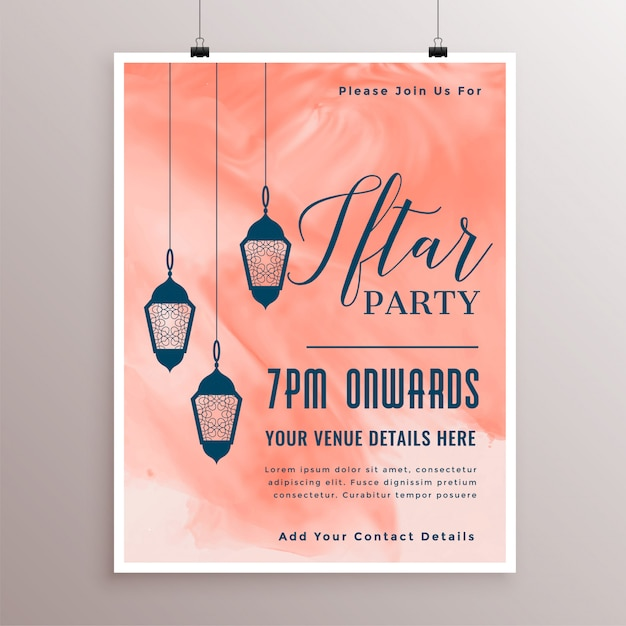 Party invitation template for iftar time Free Vector