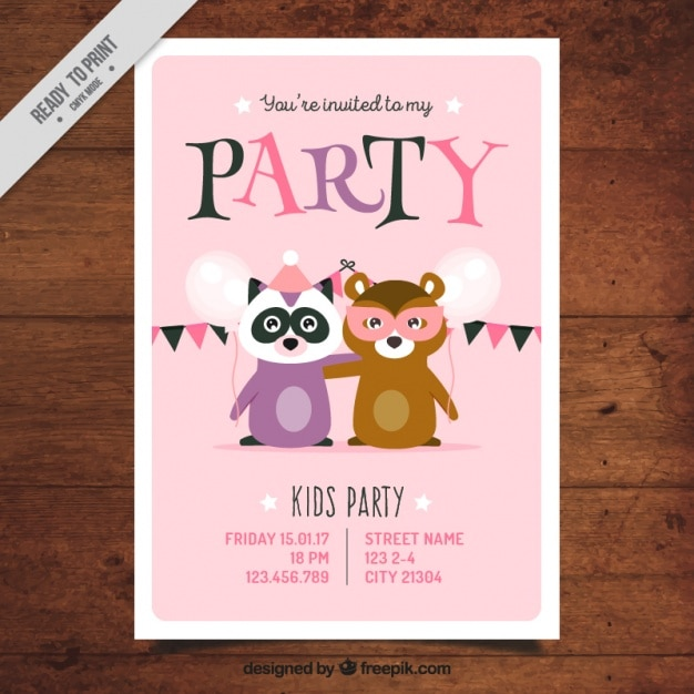 Party Invitation Template With Animals Vector