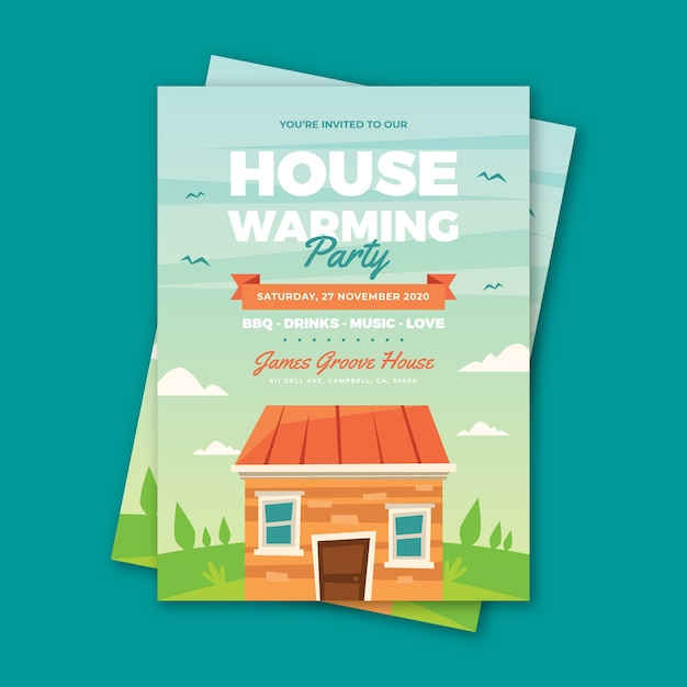 Party invitation template with house Free Vector