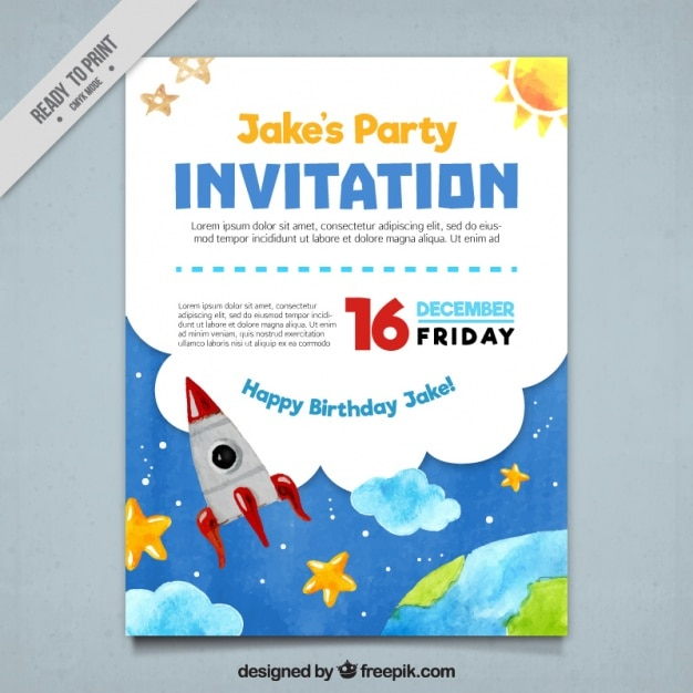 Party invitation with watercolor elements Free Vector