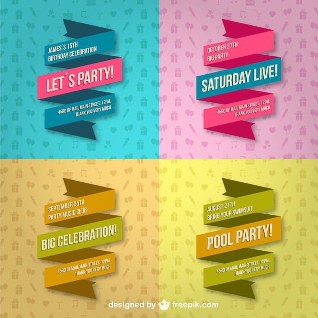 Party lace banners Free Vector