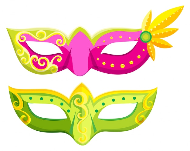 Party masks in pink and green colors Free Vector
