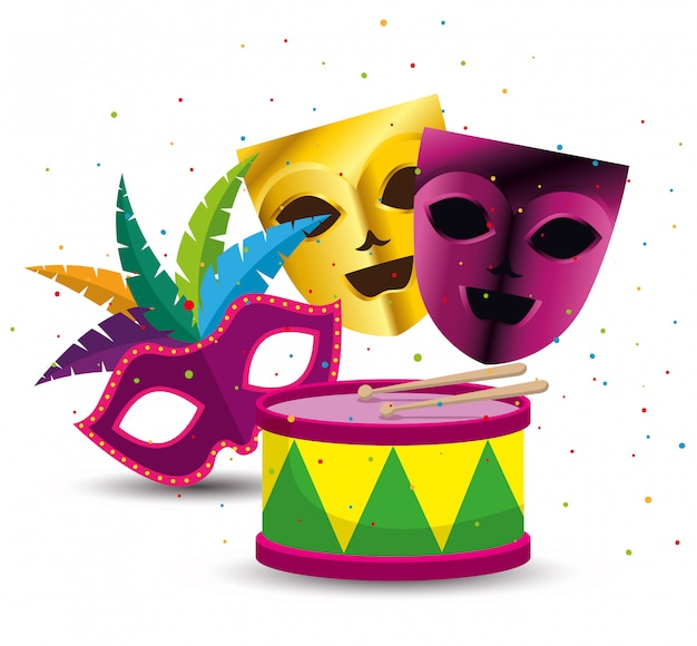 Party masks with drum for mardi gras Free Vector