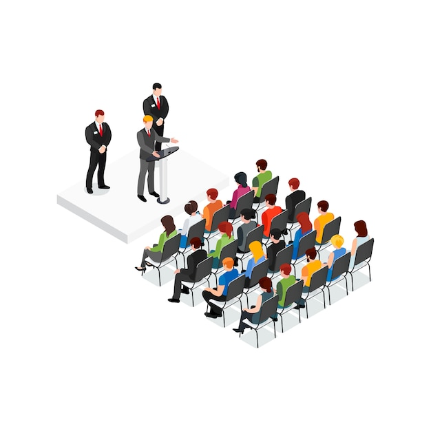 Party meeting isometric design concept Free Vector
