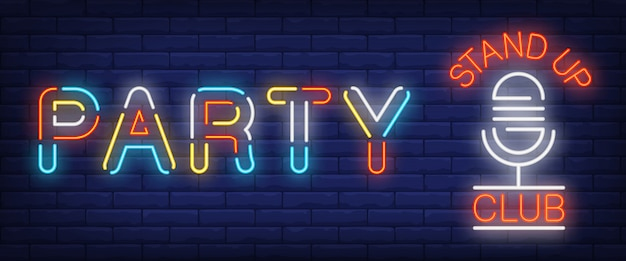 Party multicolored neon sign. glowing stand up club and mike Free Vector