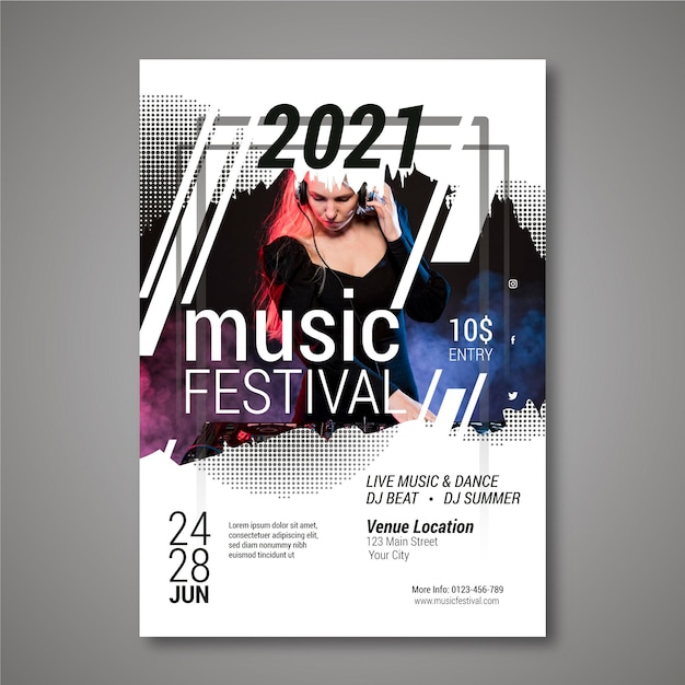 Party music festival poster with female dj Free Vector